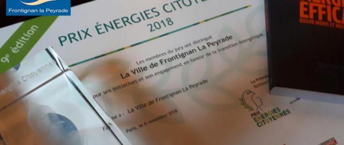 Frontignan la Peyrade lauréate du prix Energies citoyennes 2018